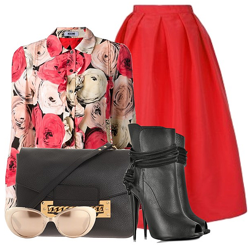 Tibi red full midi silk skirt red silk rose print blouse Moschino Cheap Chic black leather ankle boots