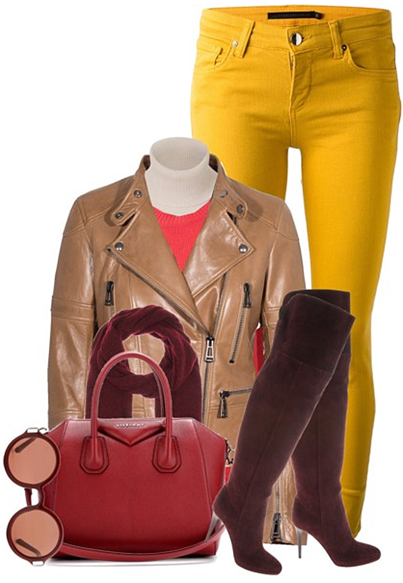 Valentino round neck sweater yellow jeans bordeau jimmy choo knee high boots leather jacket antigona givenchy