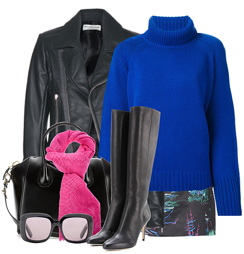 Vanessa Bruno Funnel Neck Sweater black leather knee high boots biker jacket givenchy antigona bottega veneta sunglasses hot pink scarf