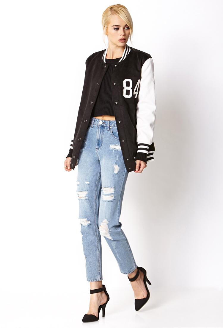 forever21 Borrowed-From-The-Boys Varsity Jacket black white