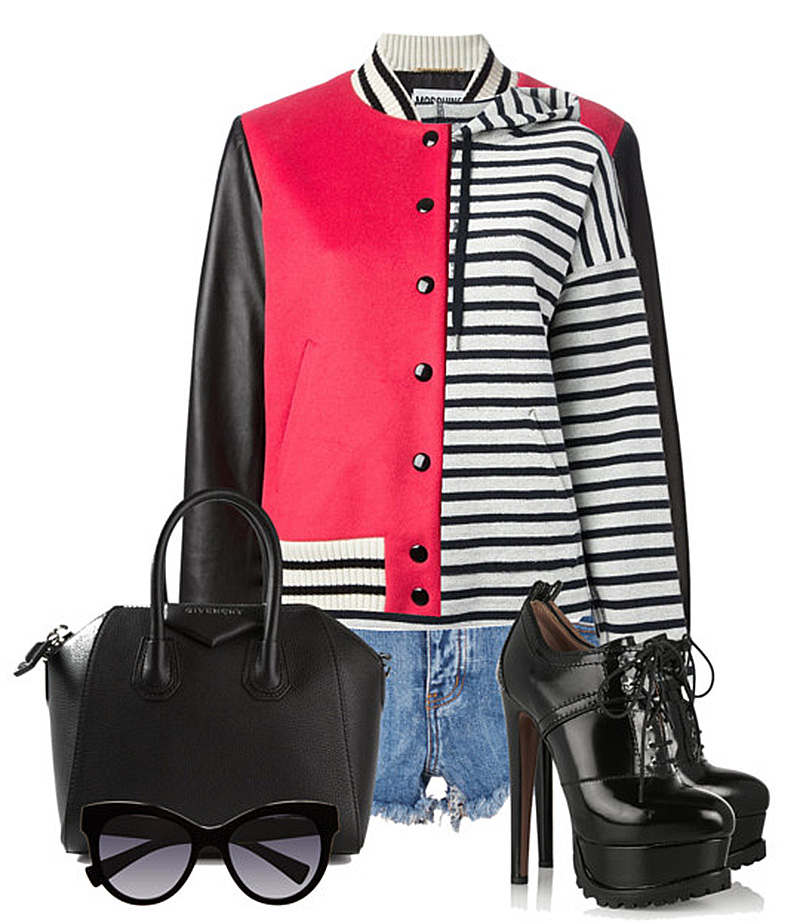 how to wear your moschino red black white varsity bomber jacket