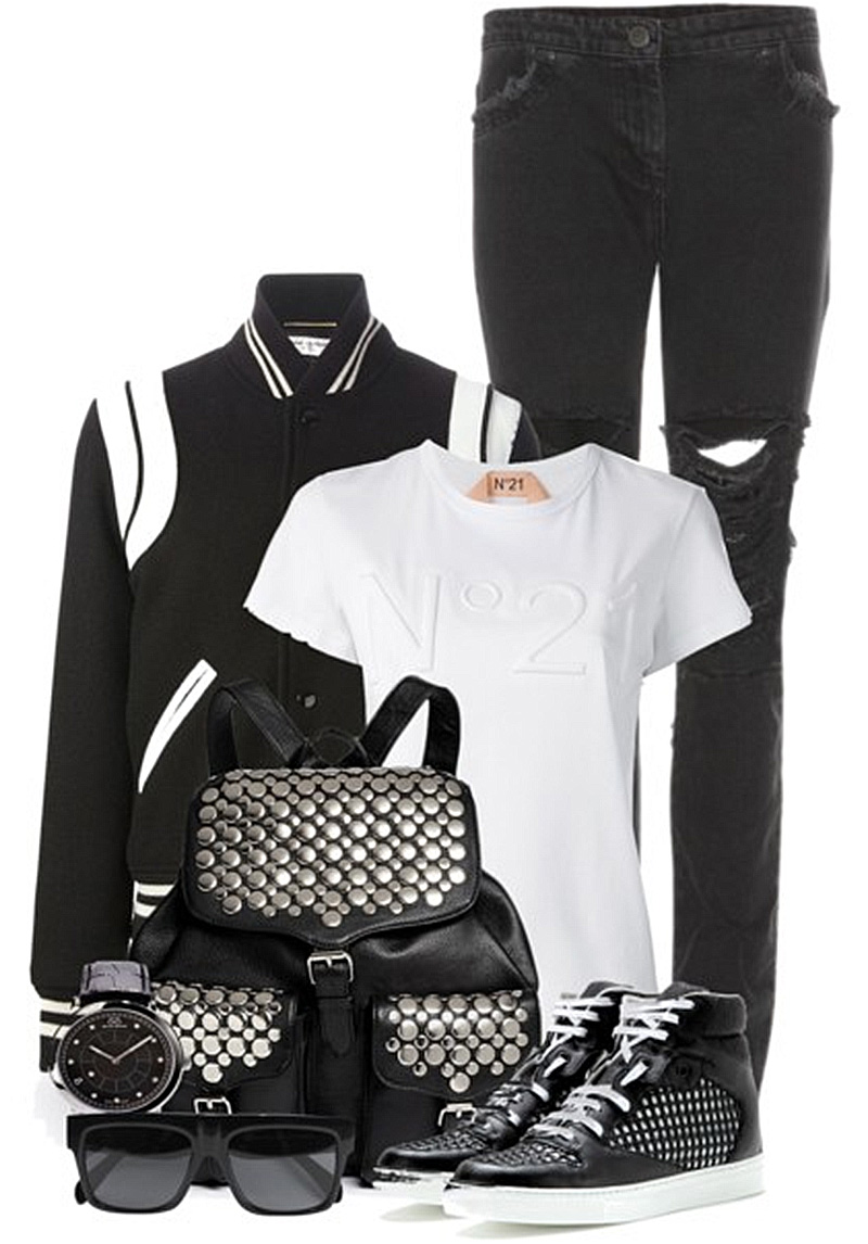 how to wear your saint laurent black and white varsity jacket