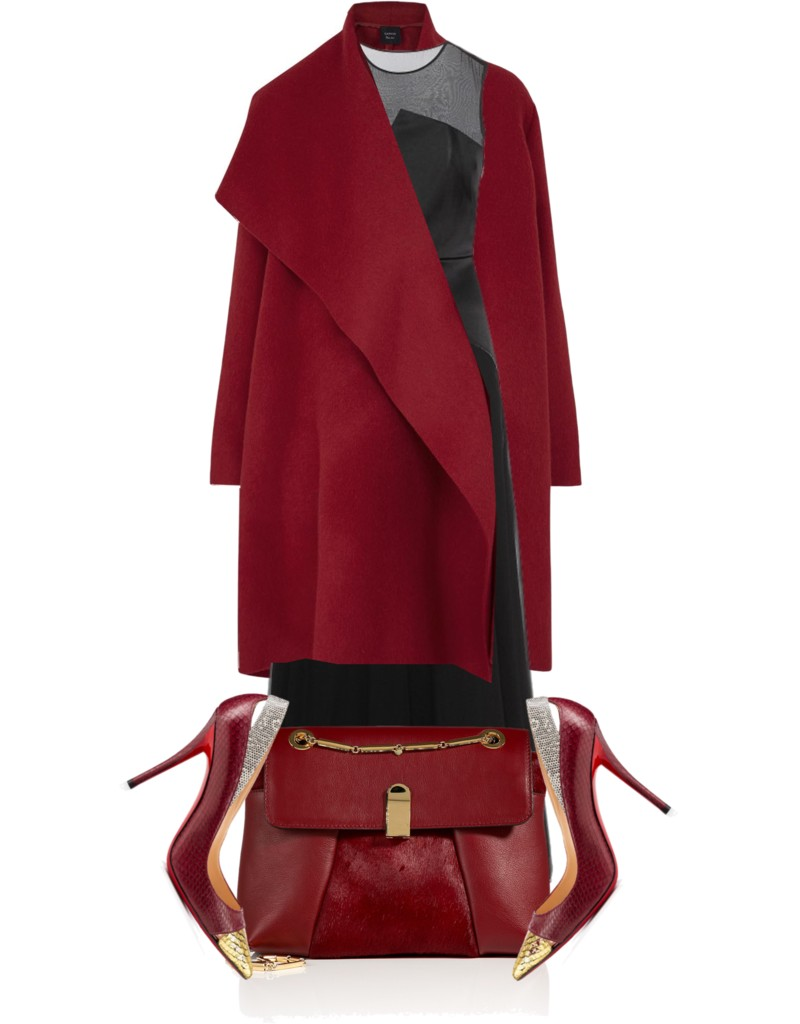 3-1 Phillip Lim Satin-chiffon Dress with Lanvin Red draped wool blend coat Christian Louboutin Neoduve pumps
