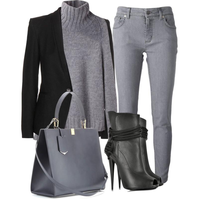 Balenciaga Le Dix Cabas Leather Tote with DOLCE GABBANA slim fit jeans La Garconne Moderne Didion Chunky Turtleneck Helmut Lang Scrunch Wool Blazer