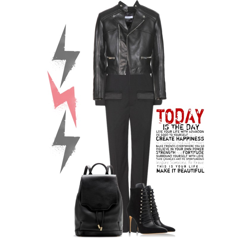Balenciaga Leather Jacket over Givenchy wool jumpsuit with Rag-Bone Pilot Leather Backpack and black Iro lace up Ankle Boots