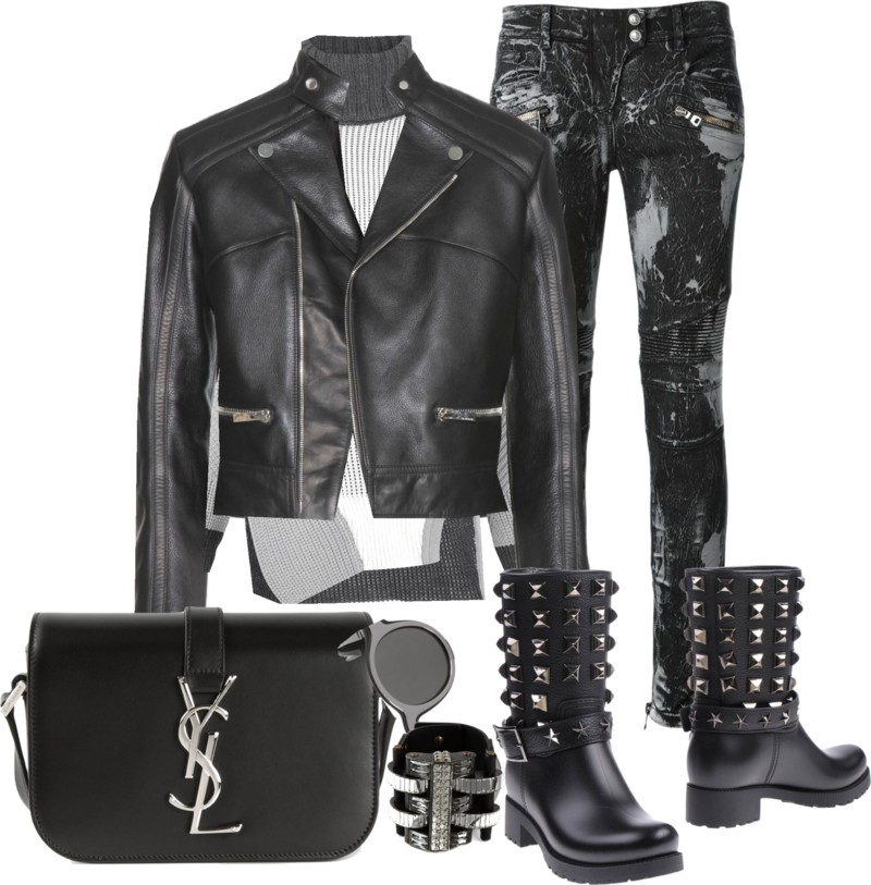 Balenciaga Leather Jacket with Balmain Bleach-Effect Biker Jeans Prabal Gurung Cable Knit Turtle Neck Sweater PHILIPP PLEIN black leather Ankle boots