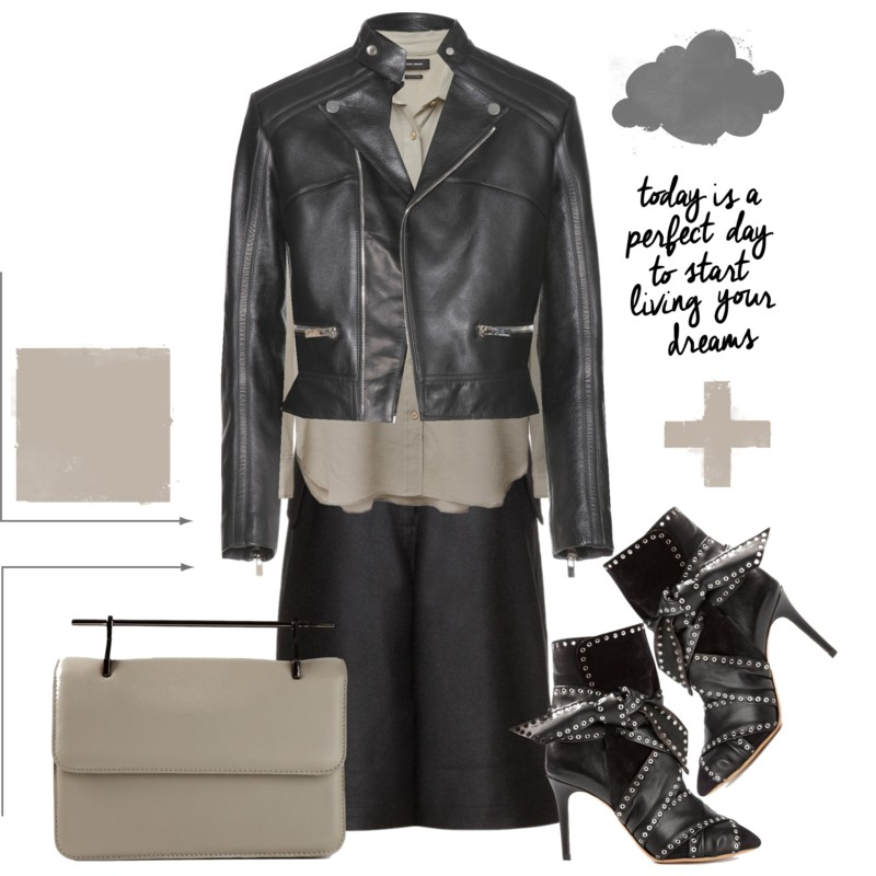 Balenciaga Leather Jacket with a pair of Acne Studios Hunter Wool Shorts an an Isabel Marant Gaetan Shirt, Isabel Marant Ankle Boots