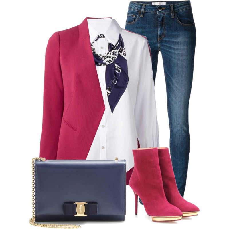 Balenciaga Printed Silk Scarf with white CRIPPEN button up shirt Emporio Armani Concealed Fastening Blazer Charlotte Olympia Deborah Suede Ankle Boots