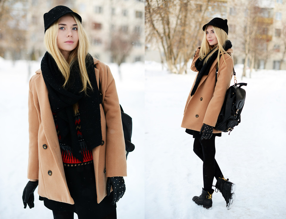 Blogger Valeriya Volkova from Votkinsk Russian Federation wears a SheInside Camel Notch Lapel Long Sleeve Double Breasted Coat