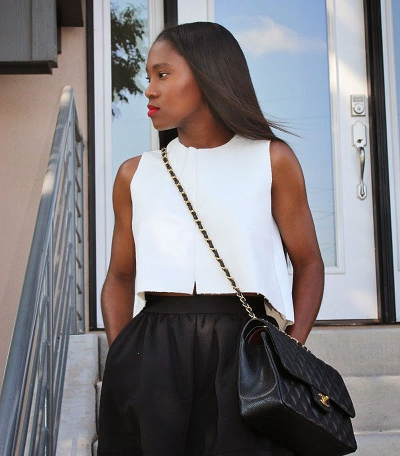 2cffc2f21d5c4f Ranti Onayemi Chanel classic flap bag gold black skirt white top outfit