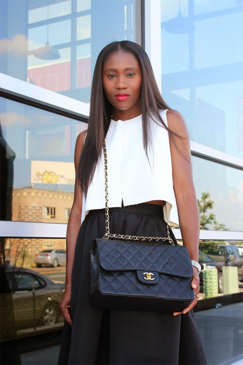 Ranti Onayemi Chanel classic flap bag gold black white outfit