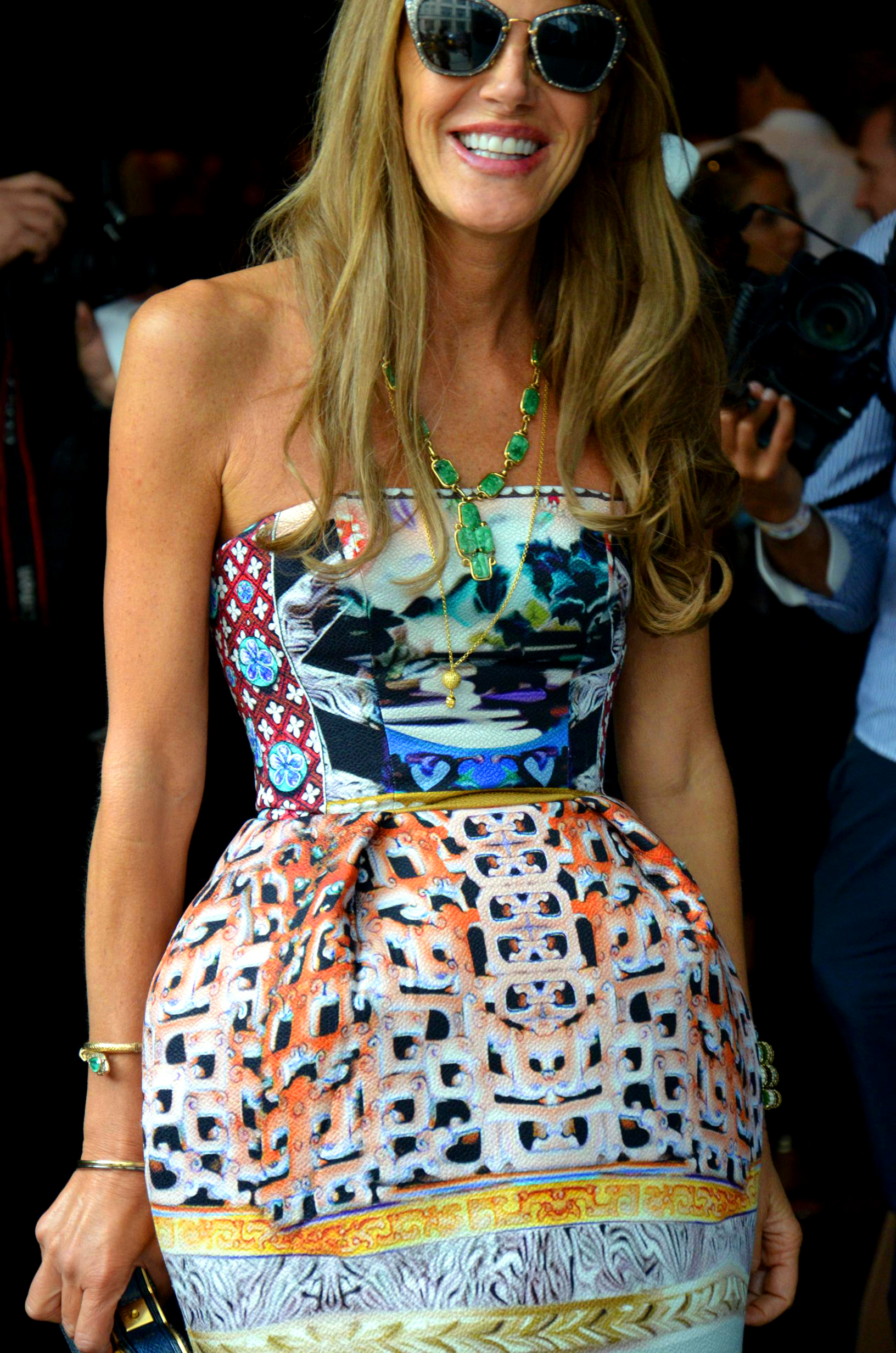 Anna Dello Russo in a Katrantzou dress