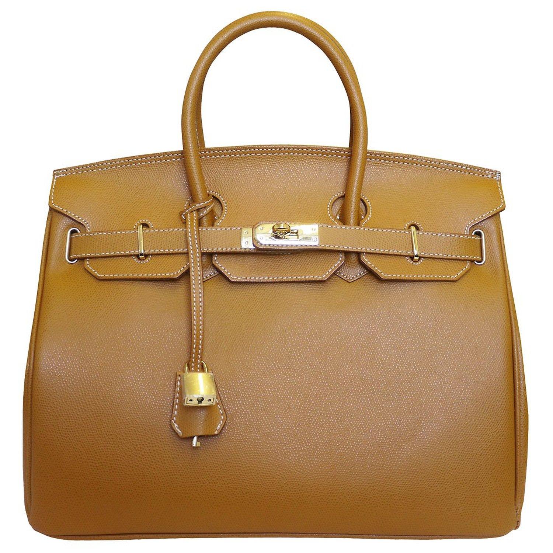 Carbotti Birkin Inspired Style Classico Leather Handbag 35cm Tan