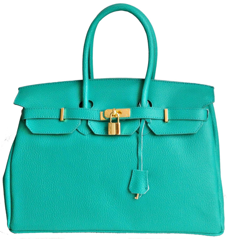 Italian Leather Birkin Inspired New Aqua Green Colour Handbag with Gold Trim