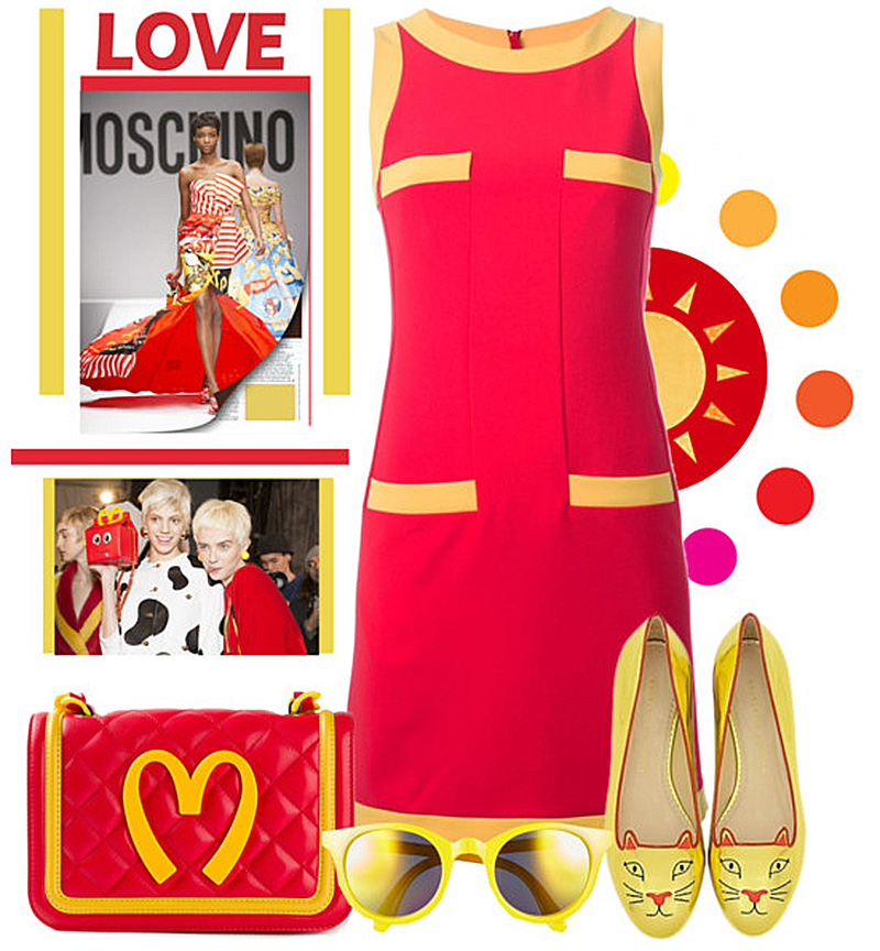 MOSCHINO red sleeveless shift dress