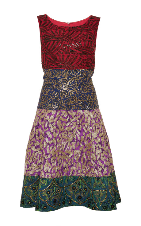 Oscar de la Renta Embroidered Jacquard Dress Multi