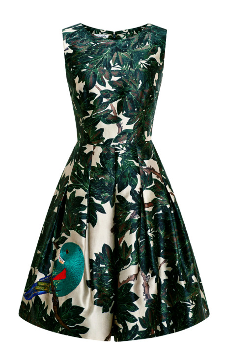 Oscar de la Renta Embroidered Silk-Blend Mikado Dress Forest