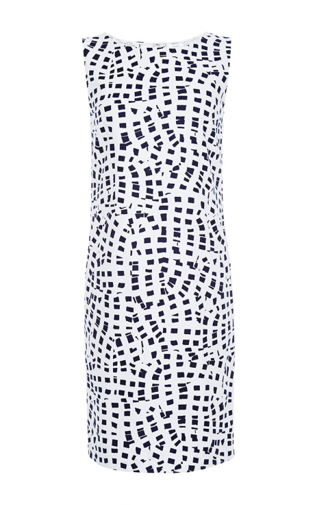 Oscar de la Renta Printed Cotton-Blend Shift Dress White