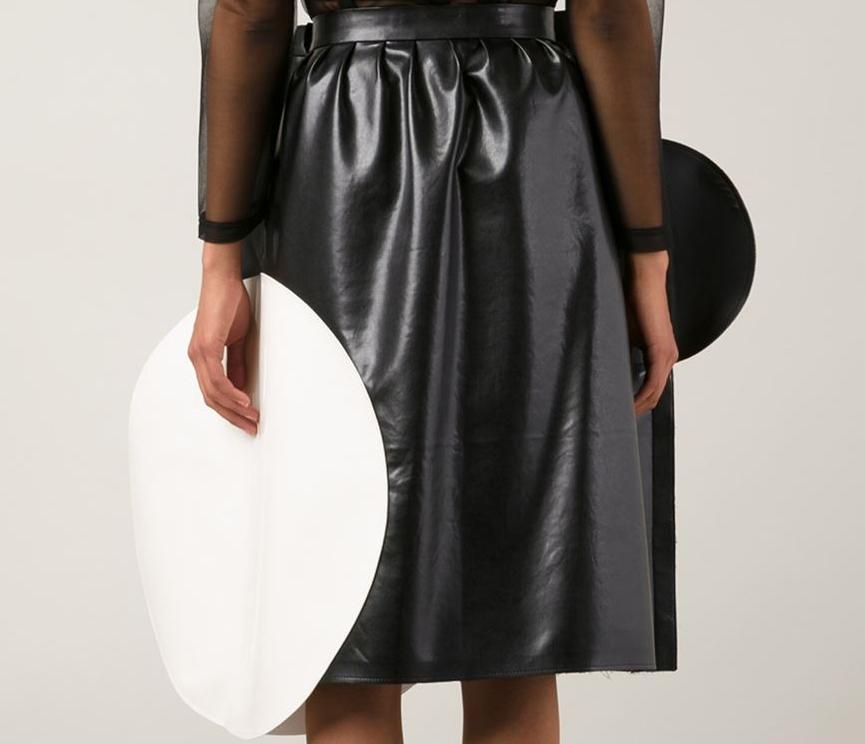 79c07de67 Junya Watanabe Comme Des Garcons black white faux leather circle skirt
