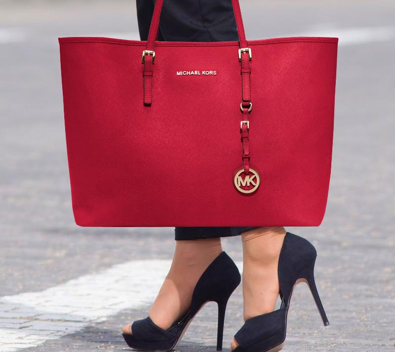 262e3b21addf74 Red MICHAEL Michael Kors Medium Travel Tote - My Fashion Wants