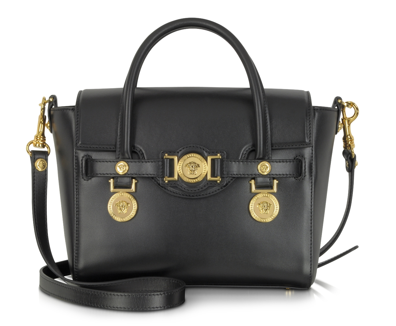 Versace Small Signature Black Leather Handbag