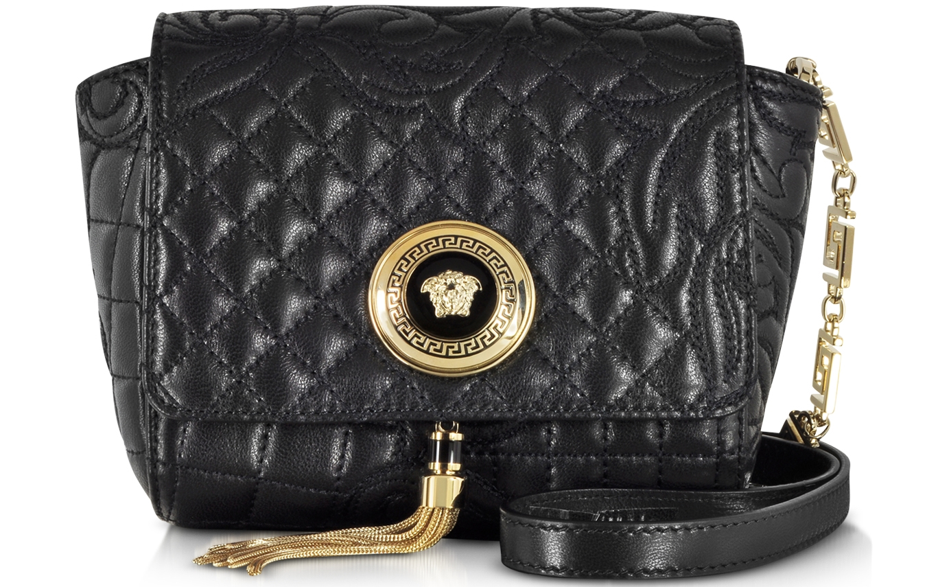 Versace black Barocco Quilted Leather Shoulder Bag