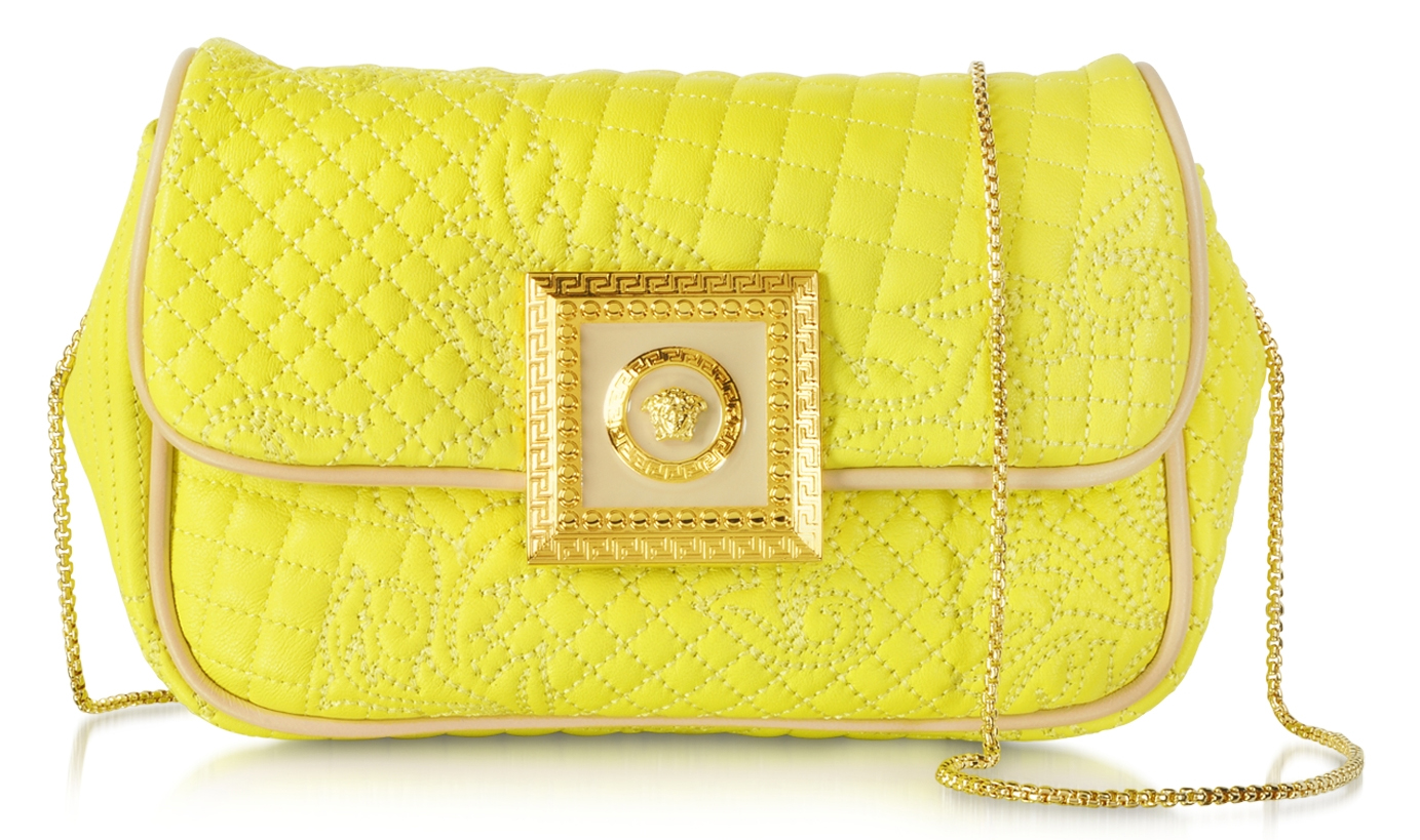 Versace yellow Acacia Micro Vanitas Leather Clutch