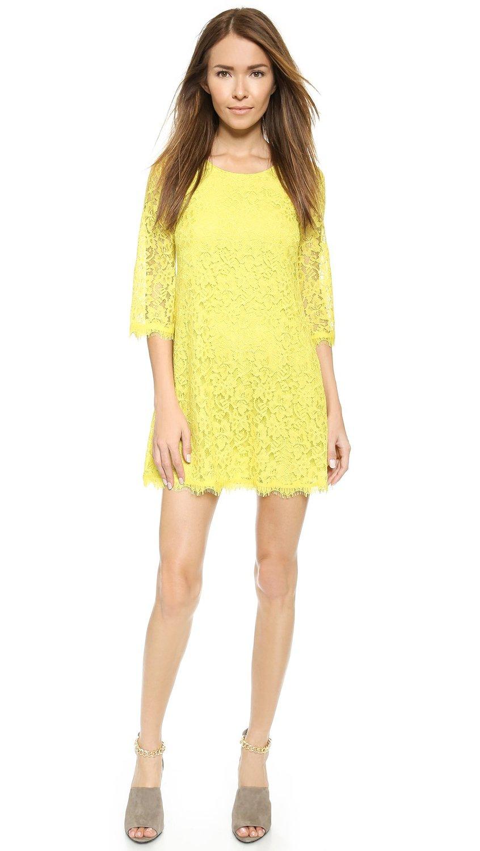 Yellow Diane von Furstenberg Women's Martina Lace Dress
