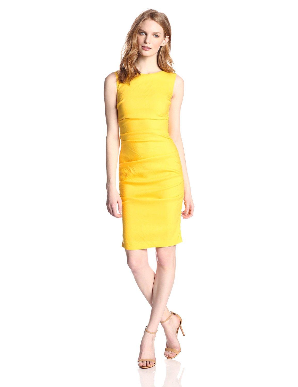 Yellow Nicole Miller Women's Lauren Stretch Linen Dress