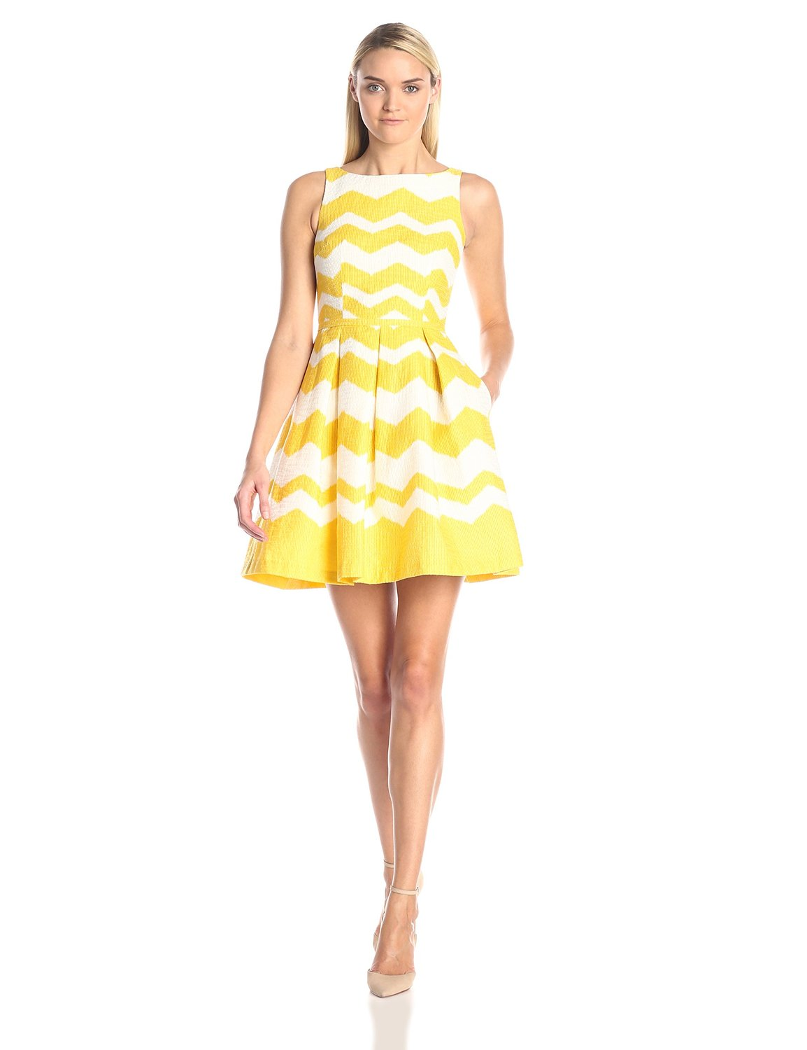 Yellow ivory Taylor Dresses Women's Zig-Zag Jacquard Fit-and-Flare Dress