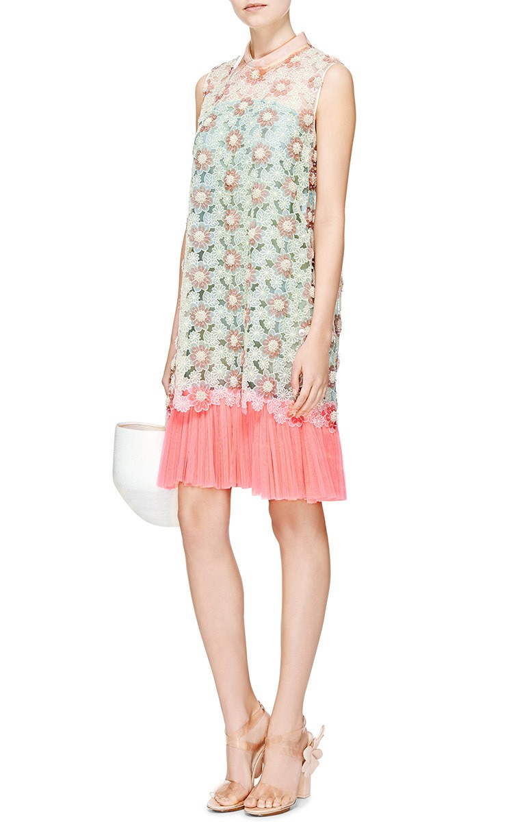 DELPOZO Embroidered Silk Organza Sleeveless dress