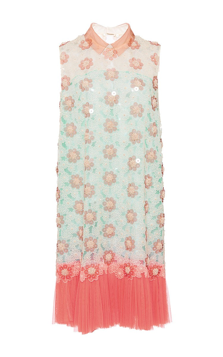 DELPOZO multicolor Embroidered Silk Organza Sleeveless Dress