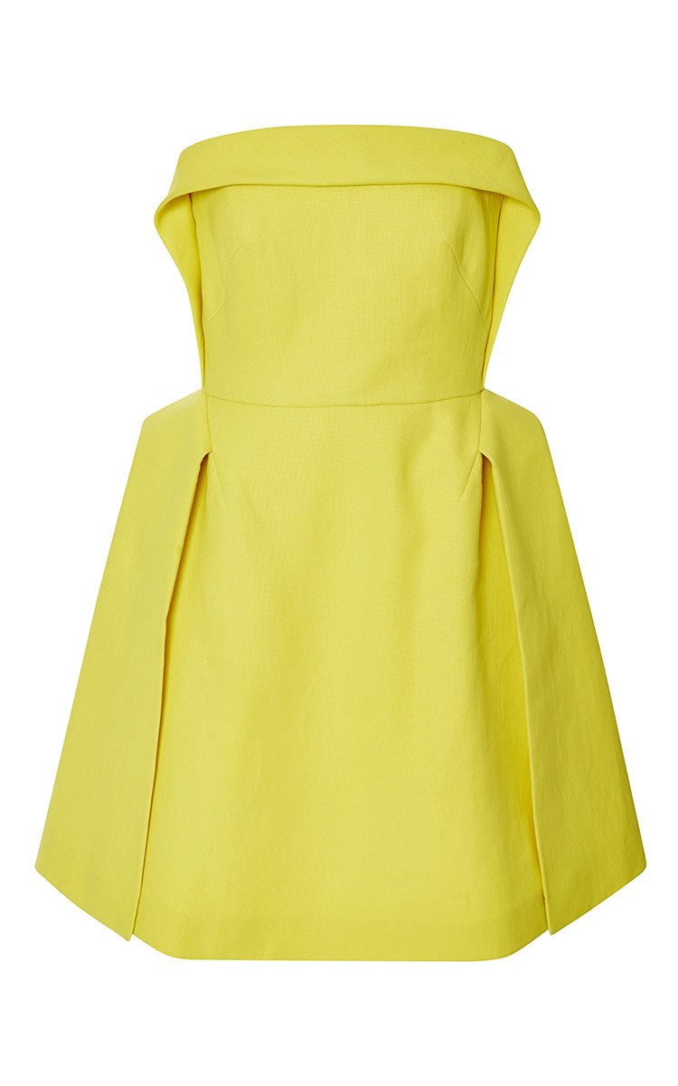 DELPOZO yellow Double Paper Twill strapless Mini dress