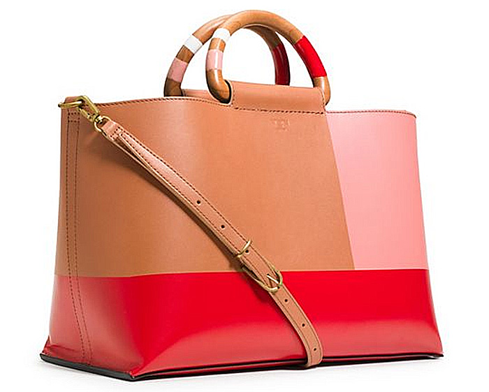Tory Burch color block tote natural masaai red