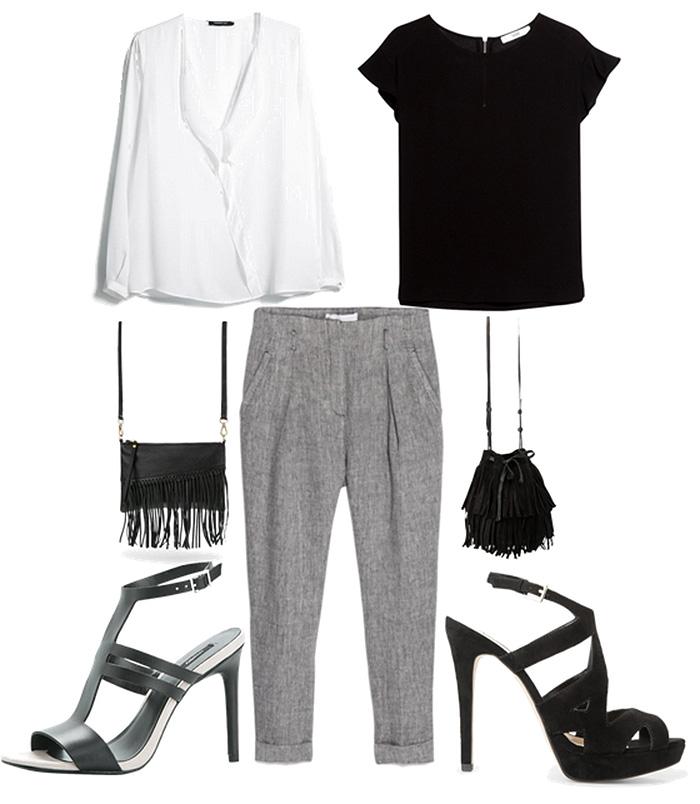 black shirt gray pants white shirt