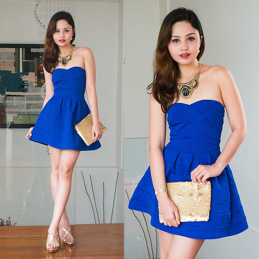 Blogger Nicole Nicole Aguinaldo wearing blue Tobi with strappy gold metallic heels December 2014