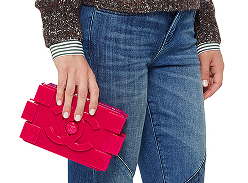 52dcfba60917 Madison Avenue Couture Chanel Fuchsia Pink Lego Clutch Boy Bag held
