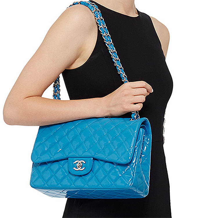 b5490b0f Madison Avenue Couture Chanel Turquoise Quilted Patent Jumbo Classic ...