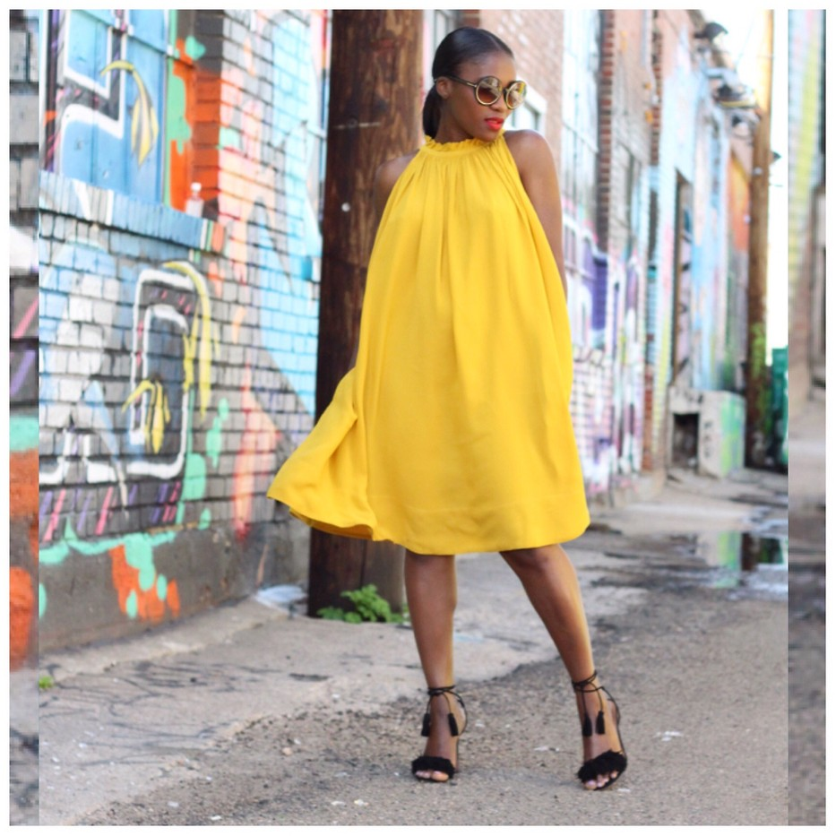 Ranti Onayemi Ranti In Review Blogspot gold orchid pleated halter dress Banana Republic