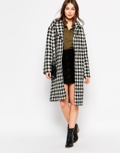 Black white Glamorous Longline Coat in Dogtooth original price $150.49 sale price $98.53