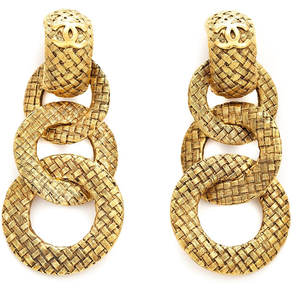 Chanel Vintage hoop dangle earrings
