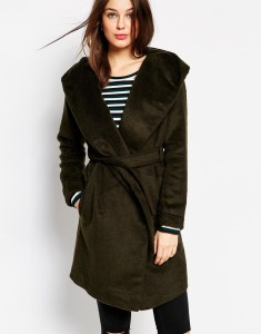 Dark khaki Glamorous Brushed Hooded Coat original price $134.36 sale price $89.58