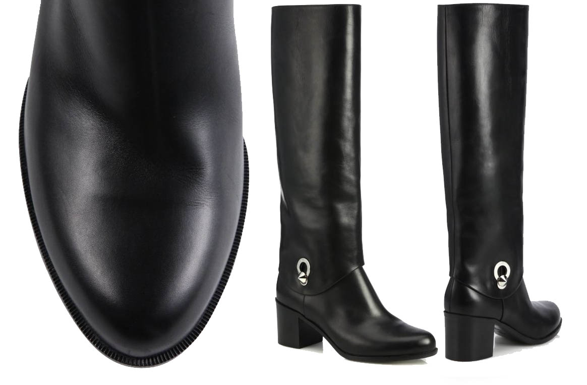 Fendi Fold-Over Leather Knee Boots