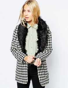 Glamorous Dogtooth Jacket with Detachable Fur Collar original price $118.24 sale price $78.83