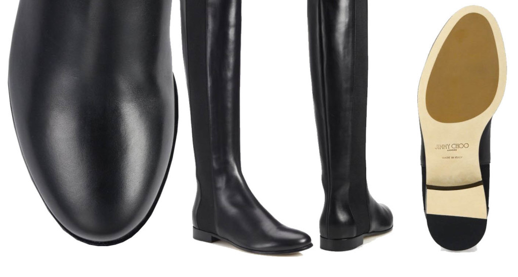 Jimmy Choo Faith Knee-High Leather and Stretch Boots