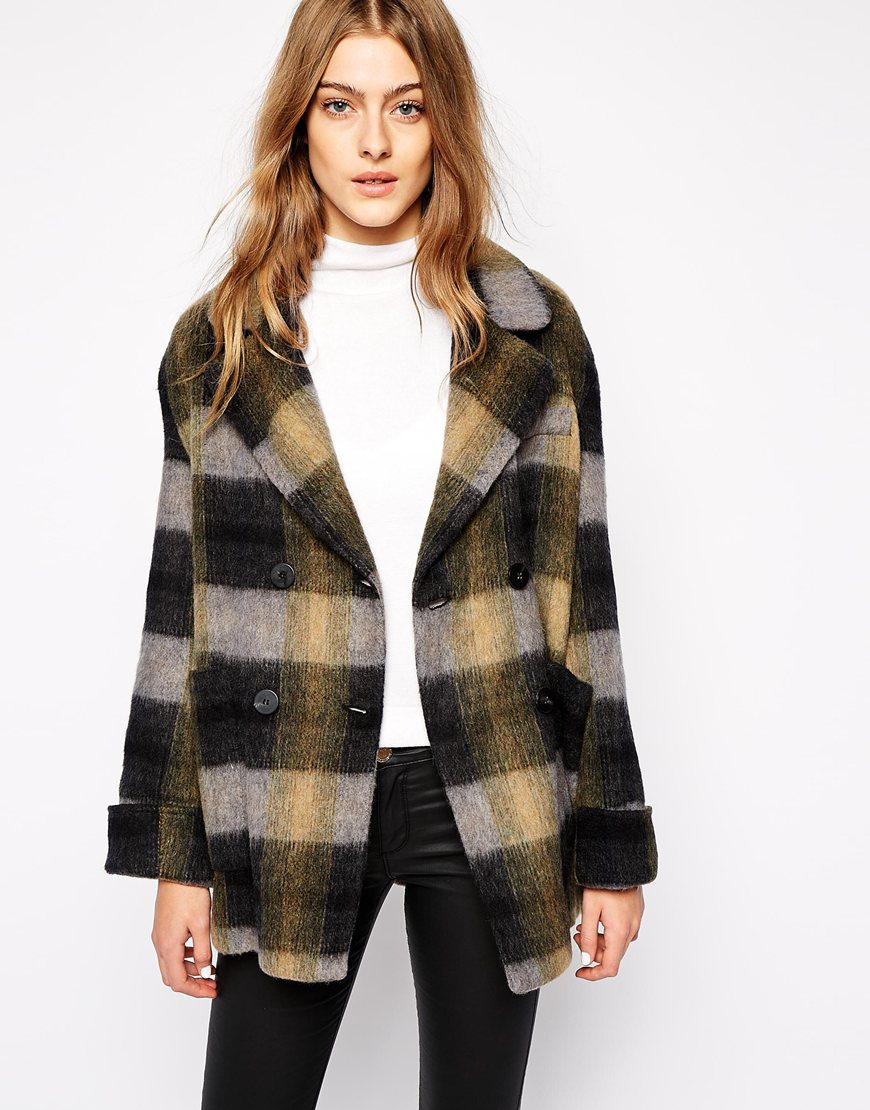 Khaki Mango Brushed Check Double Breasted Coat original price $214.96 sale price $106.59