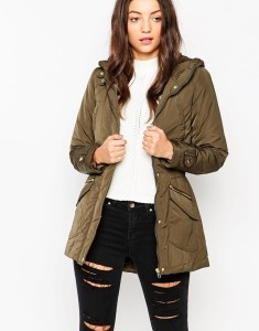 Only khaki Zip Pocket Parka Jacket original price $62.70 sale price $39.41