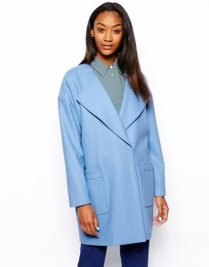 Powder blue ASOS Boyfriend Coat original price $143.32 sale price $68.08