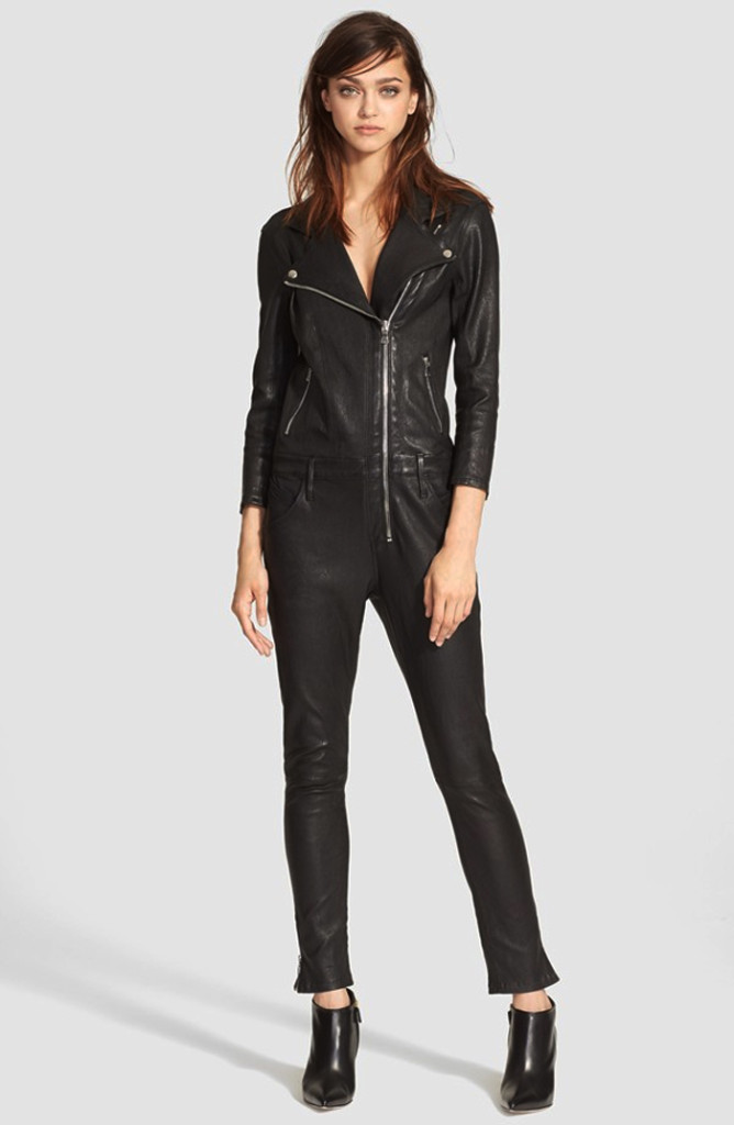 RtA Zouzou Lambskin Leather Moto Jumpsuit
