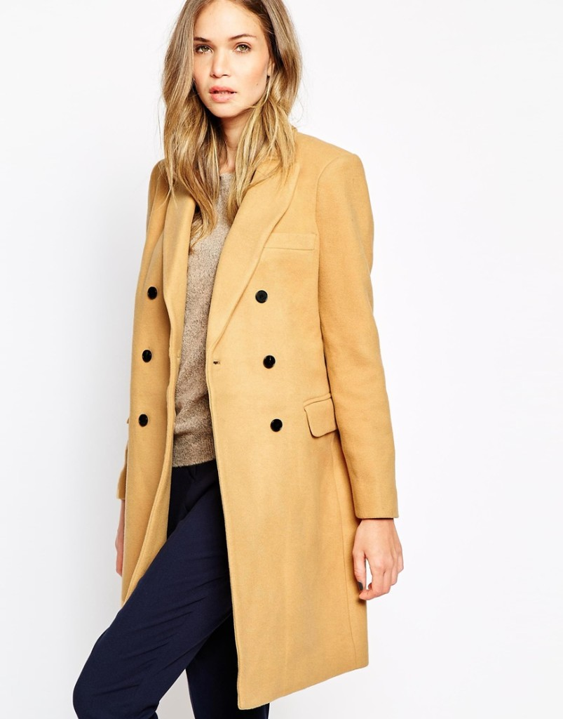 Selected Double Breasted Longline Coat in Camel